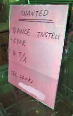 Handwritten and poorly formatted sign inviting applications for a dance instructor position